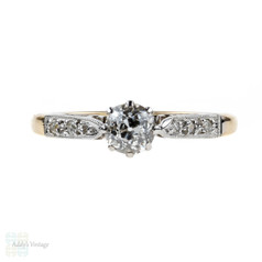 Antique Diamond Engagement Ring, Old Mine Cut Diamond. 18ct Gold & Platinum Classic Mounting.