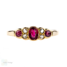 Pink Tourmaline & Diamond Ring, 18k Art Deco 1910s Antique Ring. 18ct Yellow Gold.
