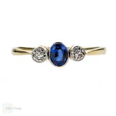Art Deco Sapphire & Diamond Engagement Ring, Three Stone Ring. 18ct Gold & Platinum.
