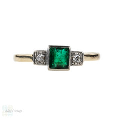 Emerald & Diamond Three Stone Engagement Ring, Circa 1940s 9ct Gold & Palladium.