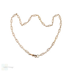 Art Nouveau 9ct Rose Gold Chain, Antique 9k Open Cage Link Necklace. 49 cm / 19.25 inches.