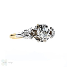 Old European Cut Diamond Engagement Ring, Leaf Design with 0.34 Carat. 18ct Gold & Palladium.
