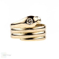 Victorian 15ct Snake Ring, 1870s Antique 15k Wide Serpent with Old Cut Diamond.