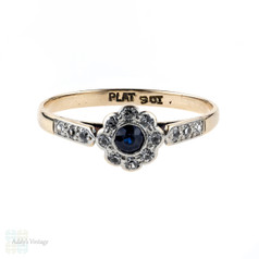 Art Deco Sapphire & Diamond Daisy Engagement Ring. 9ct & Platinum.