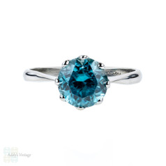 Vintage Blue Zircon 9ct Engagement Ring, Single Stone 9k White Gold Ring.