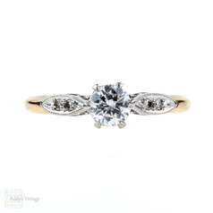 Classic Diamond Engagement Ring, Vintage Solitaire 14k & Palladim Ring. Circa 1940s.