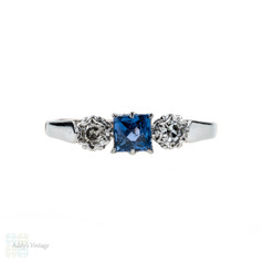 French Cut Sapphire & Diamond Three Stone Engagement Ring, 9ct Rose Gold & Palladium, 1930s.