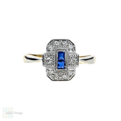 Art Deco Sapphire & Diamond Ring, 1930s Panel Ring in 18ct Gold & Platinum