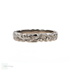 Antique Floral Engraved 18ct Wedding Ring, 18k White Gold Band. Circa 1910s, Size J / 4.75.