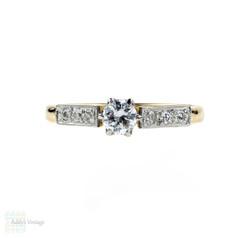Diamond Engagement Ring, Vintage Single Stone in Diamond Mount, 18ct & Platinum