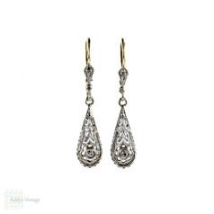 Edwardian Diamond Drop Earrings, 1900s Antique Tapered Teardrop Dangles. 18ct & Platinum.