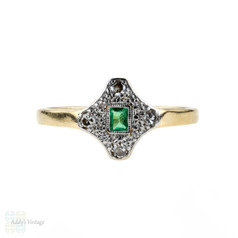 Emerald & Diamond Art Deco Engagement Ring, Geometric Shape 1920s. 18ct & Platinum.