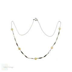 Opal 9ct White Gold Necklace, Vintage Beaded Open Link 9k Chain, Circa 1940s.