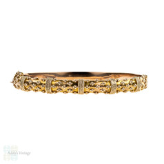 BALANCE. Edwardian 9ct Rose Gold Bracelet, Antique 9k Etruscan Style Revival Bangle. Circa 1900s.