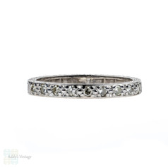 Art Deco Diamond Wedding Ring, 18ct White Gold Engraved Half Hoop Band. Size O / 7.25.