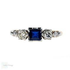 Sapphire & Diamond Engagement Ring, Three Stone Vintage Ring, Circa 1960s, 18ct Gold.