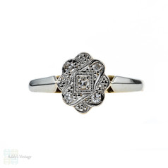 Art Deco Diamond Engagement Ring, Five Stone Cluster Ring. Circa 1920s, 18ct & Platinum.