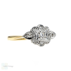 Art Deco Diamond Engagement Ring, Floral Design Cluster Ring. 18ct & Platinum.