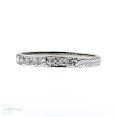 1920s Diamond Wedding Ring, Art Deco Platinum Set Engraved Band. Size O.5 / 7.5.