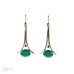 Retro Aventurine 9ct Drop Earrings, Vintage 9k Yellow Gold Green Stone Dangle Earrings.