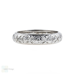 Filigree Diamond Wedding Band, 1920s Platinum Diamond Eternity Ring. Size Q.5 / 8.5.