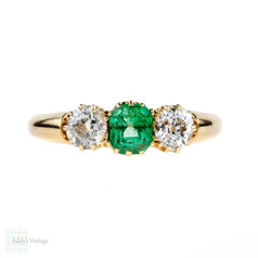 Emerald & Diamond Three Stone Engagement Ring, 18k Antique Edwardian 18ct Old Cut Diamond Ring.