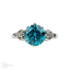 BALANCE. Vintage Blue Zircon & Diamond Ring. 18ct White Gold, Old Cut Diamonds. Circa 1950s.