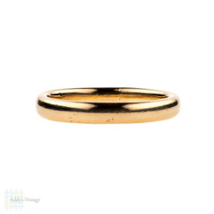 Art Deco 22ct Gold Wedding Ring, Ladies D Profile 22k Band. Circa 1320s, Size M / 6.25.