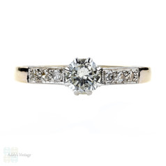 Vintage Diamond Engagement Ring, Single Stone in Diamond Mount, 18ct & Platinum