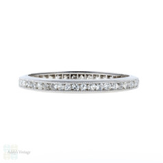 Diamond Eternity Ring, Art Deco 18ct Gold Full Hoop Wedding Band. Size O / 7.25.