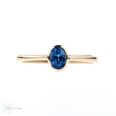 Vintage Sapphire Single Stone Ring, 14k Gold Bezel Set Oval Engagement Ring.
