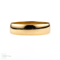 Victorian 22ct Wedding Ring, Antique Wide 22k Gold Cigar Band. Circa 1890s, Size Q.5 / 8.5.