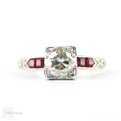 RESERVED. Old European Cut Diamond Engagement Ring. 18k White Gold Ruby Setting. Circa 1930s.