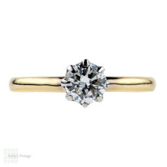 Diamond Engagement Ring, 0.55 ctw Vintage Solitaire, 9ct Crown Design Single Stone.