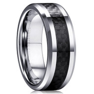 mens tungsten wedding bands black carbon fiber, mens tungsten ring silver and black carbon inlay