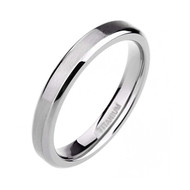 4mm - Women's Titanium Wedding Bands. Silver Tone Beveled Edge Ring with Comfort Fit Matte Finish and Light Weight