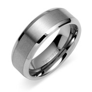8mm - Unisex or Men's Tungsten Wedding Band. Silver Tone Matte Finish. Beveled Edge Comfort Fit