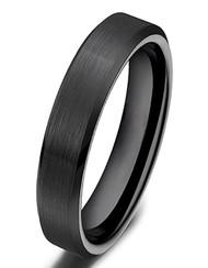 4mm - Women's Ceramic Wedding Band. Black Brushed Top Comfort Fit Wedding Ring