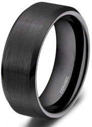 8mm - Unisex or Men's ceramic Wedding Bands. Black Brushed Ring. Comfort Fit