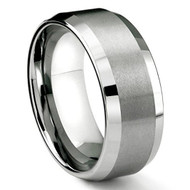 8mm - Unisex or Men's Tungsten Wedding Band. Silver Tone Matte Finish. Comfort Fit with Angled Beveled Edges