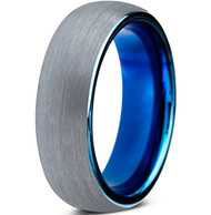 6mm - Unisex, Women's or Men's Tungsten Wedding Band. Gray and Blue Ring. Round Domed Brushed. Comfort Fit.