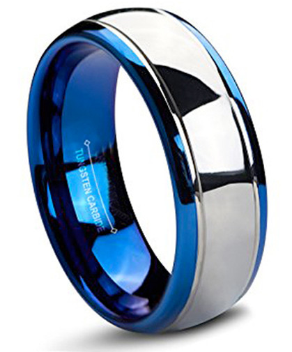 8mm Unisex Or Men S Tungsten Wedding Band Blue And Silver Dome