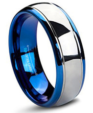 mens tungsten wedding bands blue and silver, mens tungsten ring silver and blue