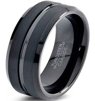 8mm - Unisex or Men's Tungsten Wedding Band. Black Ring with Comfort Fit. Beveled Edge Polished Brushed
