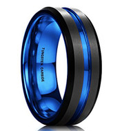 mens tungsten wedding bands blue, mens tungsten ring black and blue