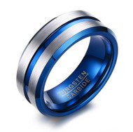 8mm - Unisex or Men's Tungsten Wedding Band. Silver / Gray with Blue Groove. Matte Finish Tungsten Carbide Ring. Beveled Edge