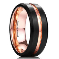 mens tungsten wedding bands rose gold, mens tungsten ring black and rose gold