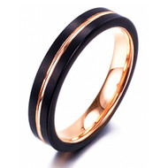 4mm - Women's Tungsten Wedding Bands. Black Matte Finish with Rose Gold Tungsten Carbide Ring.