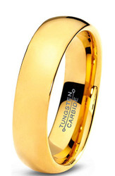 5mm - Unisex or Women's Wedding Band. Tungsten Wedding Band Ring for Men Women Comfort Fit 18K Yellow Gold Plated Domed Polished