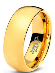 7mm - Unisex or Men's Tungsten Wedding Band. Gold 18K Plated Comfort Fit. Domed Polished Ring